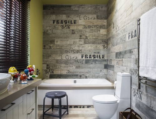 CHILDRENS BATHROOM – Joyful bathroom design for a 6 year old boys bedroom. Sensitive words on the porcelain timber textured tiles encourage sensitivity and nurturing.
