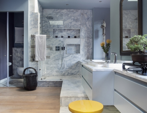 MASTER BATHROOM WET AREA – An open plan bathroom designed by deconstruction of use. Marble clad  bathroom vanities defined by existing windows whilst the shower and bath concealed in a bay window.